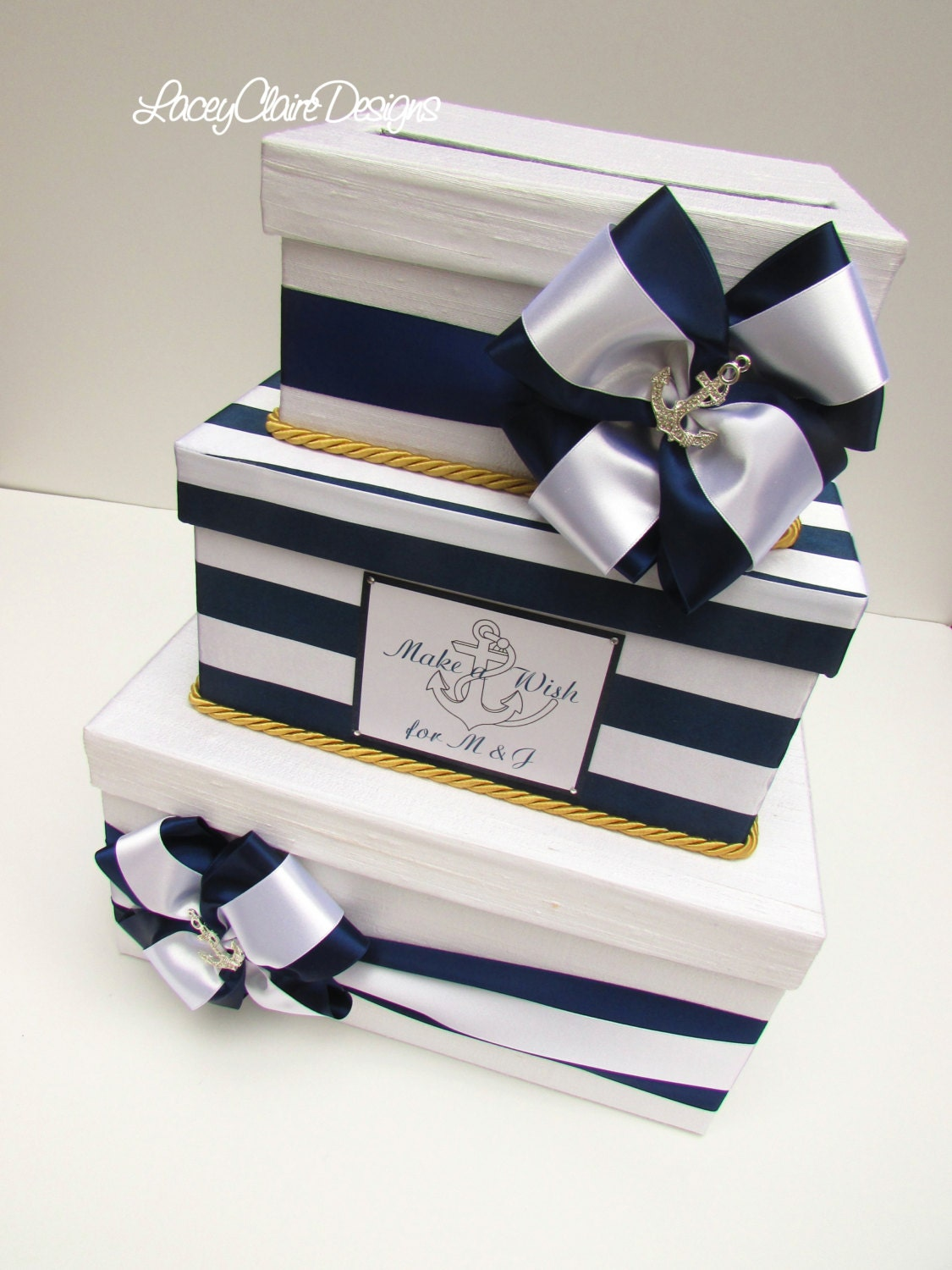 Nautical Wedding Gift Card Holder : Nautical Wedding Card Box Beach Wedding Money Box Custom