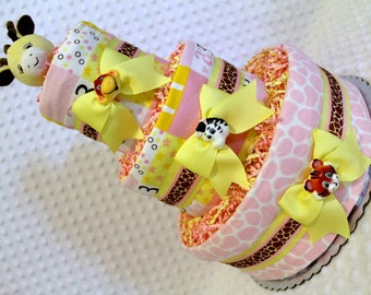 Giraffe Baby Diaper Cake Shower Gift or Centerpiece