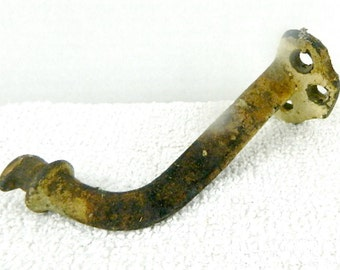 Vintage hardware wall hook, painted, patina, very sturdy