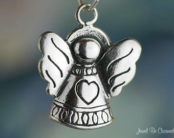 Sterling Silver Angel with a Heart Charm for Love or Heaven Solid .925