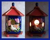 Birdhouse Night Light Lamp detailed hand painted design  no. 1