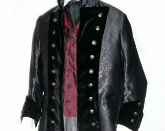 Mans Steampunk Military Pirate Coat in Black with Velvet and Brass Buttons