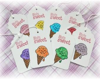 Ice cream cone - rainbow -  Ice Cream Tags (8)