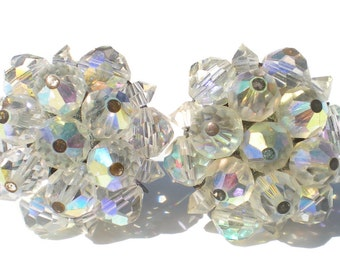 Vintage Cluster Clip On Earrings Signed Laguna with Aurora Borealis Glass Beads - Vintage Formal Evening Jewelry