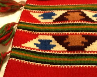 Authentic Vintage Woven Wool Navaho Bag or Guatemalan Bag Feed Bag Red Tassles Excellent Condition