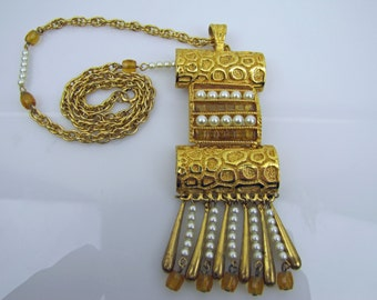 Lucien Piccard Huge Long Statement Necklace. Mayan Egyptian Revival. 24K Gold Plating. Invisible Set Amber Glass Stones And Pearls C1970