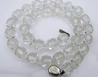 Art Deco Czech Sterling Silver Crystal Choker Collar Length Necklace. Signed Czechoslovakia . 1920s Art Deco Jewelry. Wedding Bridal Jewelry