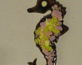 Seahorse pin, Vintage saehorse, Copper jewelry, enamel pin, vintage hand made OOAK Brooch