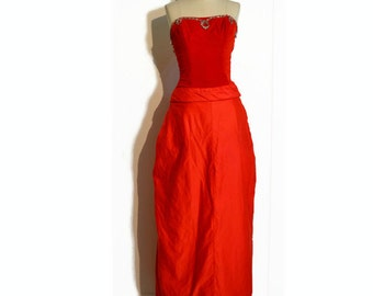 Vintage 1950's Vintage Dress // Red Evening Gown / Prom Dress w/ Velvet Bodice and Silver Trim and a Draped Full Length Skirt, XS/S