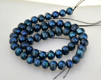 """Blue Baroque Cultured Pearl Gemstone Beads 8mm Strand 14"""" Full One Strand  Real Pearl Freshwater Cultured pearl Jewelry"""
