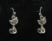 Kitten Earrings, Cat Jewelry, Cat earrings, earrings, cat,  Antique Silver Tone  Earrings