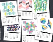 2016 PRINTABLE 5x7 Calendar - Geometric Eclectic