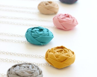 Beach wedding necklace, Fabric Flower necklace, Rosette necklace Bridesmaid necklace, fabric flower