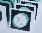 Cat Mini Cards, Turquoise Cat Cards, Small blank Cards, Set of 20 Cat Cards, Cards for Cat Lovers, Aqua Black and White Handmade Cards