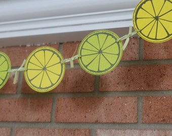 Citrus Banner, Lemon and Lime Summer Banner, Citrus Decor, Yellow and Green Party Decorations, Lemon Lime Kitchen Decor