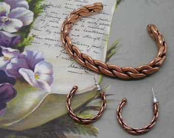 Vintage SouthWestern Braided Solid Copper Bracelet & Earrings Set