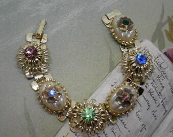 Vintage Book Link Bracelet w/ Baroque Pearls & Rhinestones