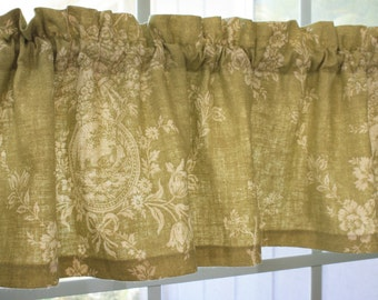 Valance  Waverly Dill Green and Beige Waverly Toile  Country House New.