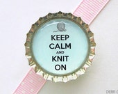 Keep Calm and Knit On Bottle Cap Magnet - blue keep calm and carry on, knitter gift, for knitter, knitting gift ideas, knitting group favors