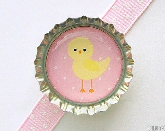 Chick Pink Bottle Cap Magnet - girl baby shower favors, girl baby shower theme, cute baby animal magnet, pink party favor, baby shower ideas