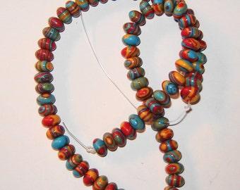 6x4 mm rondelle Multi-Color RAINBOW STONE beads, 15 1/2 inch strand (hka38)