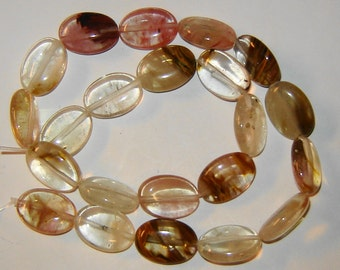13x18mm oval WATERMELON TOURMALINE, gemstone beads, 15 inch strand (wt2)