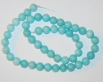 8mm GENUINE, Blue Green AMAZONITE, round gemstone beads,15 1/2 inch strand, (hg219)