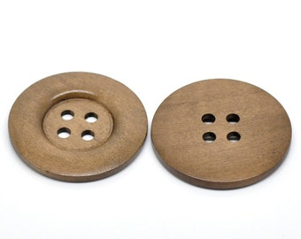 8 pcs Extra Large Light Brown Wood Buttons - 50mm - 4 holes