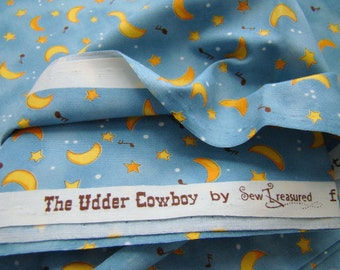 Moon and Stars Fabric, The Udder Cowboy Fabric for Moda Fabrics, OOP