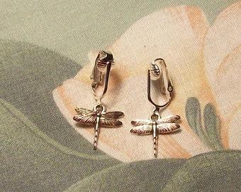 Clip on or Pierced Tibetan Silver Dragonfly Earrings