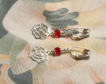 Lightweight Silver Rose Flower Red Faceted Glass Clip On Earrings Other Colors Available
