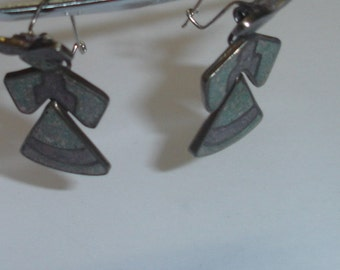 Vintage MEXICO Inlaid Sterling Silver Articulating Dancing Maidens Dangle Drop Wire Pierced Earrings Pre- Eagle 1940's