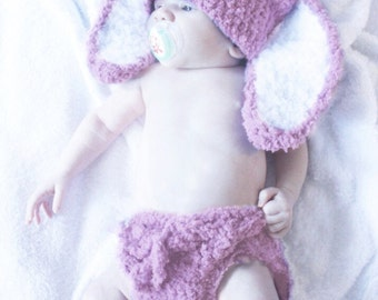 SALE 3 to 6m Girl Baby Bunny Hat Crochet Diaper Cover Set Prop - Plum Baby Hat Girl Bunny Ear Baby Beanie Photography Prop  Baby Gift