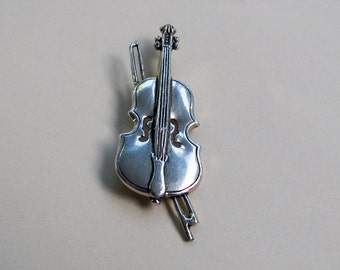 Vintage Cast Metal Violin Brooch