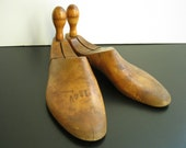 vintage 1920s 1930s wooden shoe lasts or shoe trees maple wood great patina