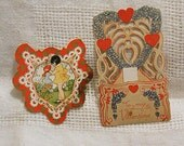 2 DIE CUT VALENTINES 1920 Greeting Cards, Girl Watering Flowers, Heart, German Fold Down Blue Forget Me Nots, Paper Collage Journal Decor