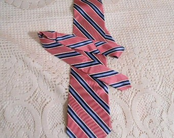 IZOD SILK NECKTIE Dusty Rose Ecru Navy & Blue Diagonal Stripes, Trendy Stylish Tie, Solid Shirt Accent, Guy Man Fathers Day Gift, Korea Made