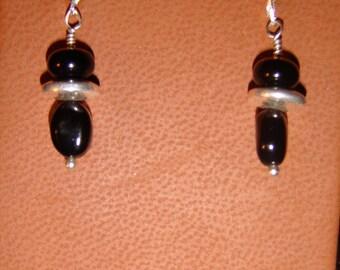 Black Jade and Sterling Silver Earrings
