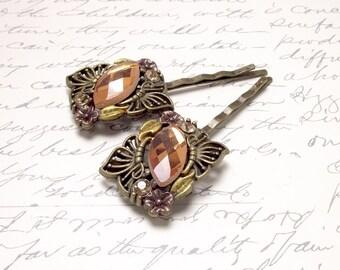 Amber Bronze Cabochon Gemstone Bobby Pins. Wedding Hair Accessories. Honey Copper Gold Hair Pins.