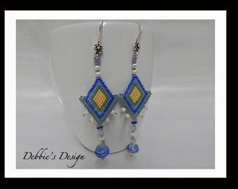 Women's Hand Beaded Dangle Earrings-416 Women's Earrings, OOAK, Jewelry, Beadwork, Beaded, Dangle, Women's Jewelry, Jewelry Accessories