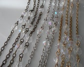 36 Inches, 6 mm  AB Clear Crystal Faceted Round Glass Bead Chain.  Jewelry Making Supply . Gold, Silver or Brass Chain