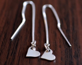 Heart Threader Earrings, Sterling Silver, Teen Tween or Women, Delicate Box Chain, Simple Valentine's Day Jewelry