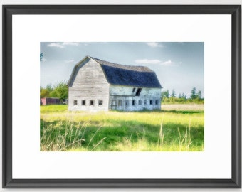 Old Barn, Farm, Large, Fine Art Photography, Green, Blue, Country, Rural, fPOE,(6 sizes)