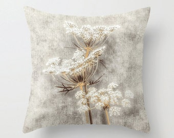 Pillow Cover, French Country, Queen Anne's Lace, White, Beige, Gray, Brown, Decorative Throw Pillow Cover, 16x16, 18x18, 20x20