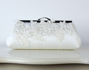 Alencon  Lace Applique Silk Clutch, wedding clutch, wedding bag, bridesmaid clutch, Bridal clutch, Purse for wedding