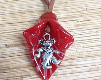 Grateful Dead Red Lampwork Flower Dancing Bear Necklace