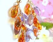 Orange and purple cluster gold chandelier earrings, Fall orange Swarovski crystal purple amethyst cluster earrings