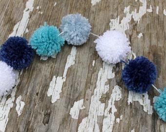 Blue and White | Yarn Pom Pom Garland  | Christmas Garlands | Nursery Decor | Christmas Decor | Hanukkah | Buntings | Photo Props