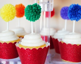 Rainbow Yarn Pom Pom Cupcake Toppers | Cupcake Toppers | St. Patrick's Day | Cake Topper | Rainbow Party | Paint Party | Knitting Party | Up