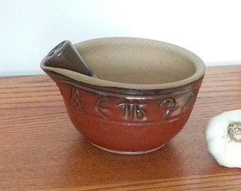 Mortar and Pestle Apothecary Symbols Set Iron Red Handmade Pottery EACH ONE UNIQUE
